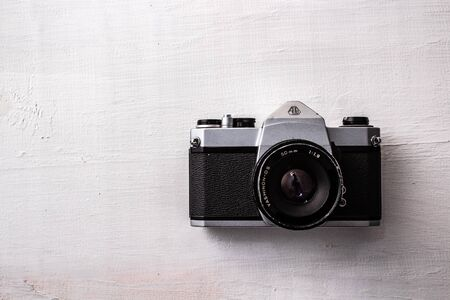 old camera on white background Banco de Imagens