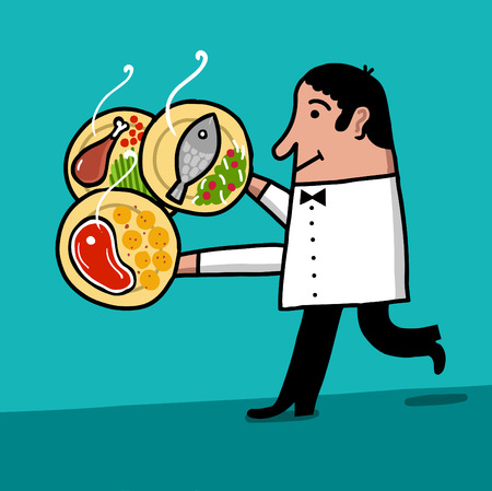 human source: waiter serves many dishes with food Illustration