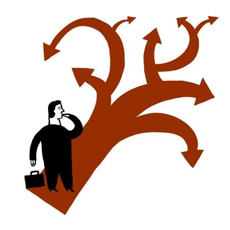 indeciso: Hombre indeciso con varias direcciones a seguir  Vectores