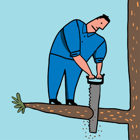 Idiot saws branch Vector