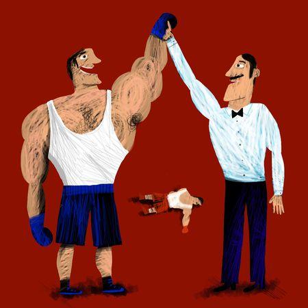 victorious: Referee raises arm of victorious boxer