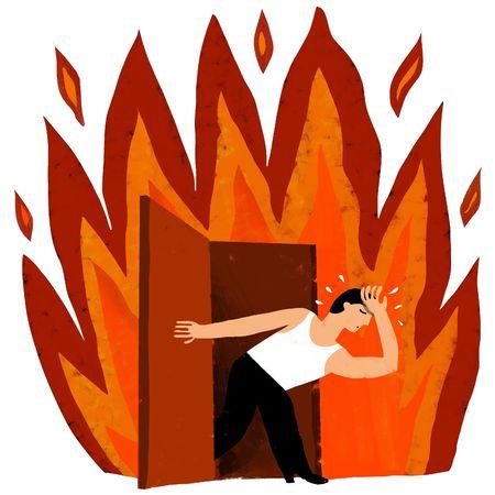 sweated man leaves a flame photo