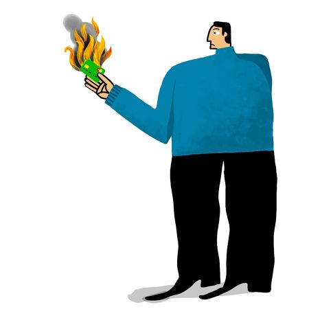 warms: man with burning credit card Stock Photo