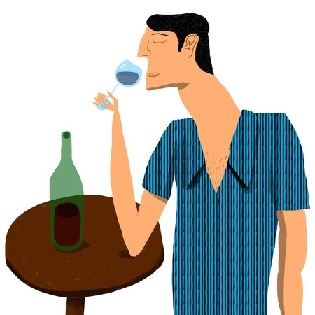 man smelling a glass of red wine photo
