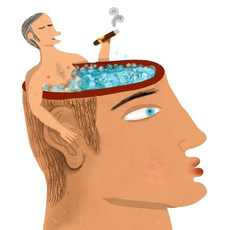 man smoking in a bath tub head