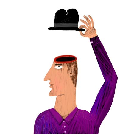 the stranger: man without brain salutes with hat