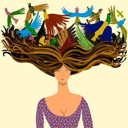 zwerm vogels: vrouw met vogels vliegen van haar haren  Stockfoto