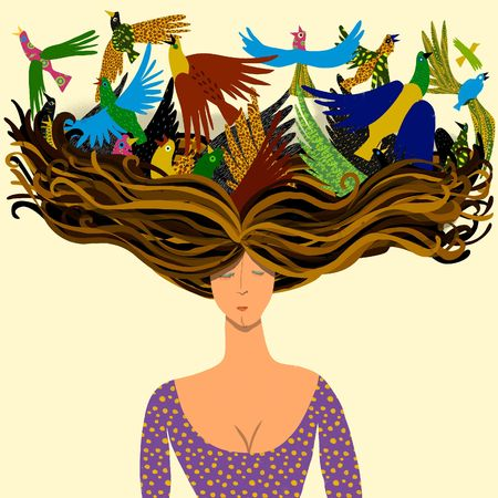 young bird: woman with birds flying from its hair