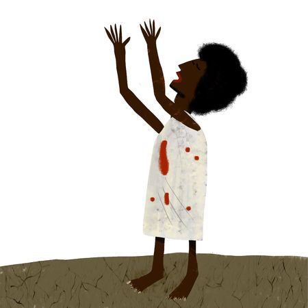 cries: Poor haitian woman cries out with the arms to the sky Stock Photo