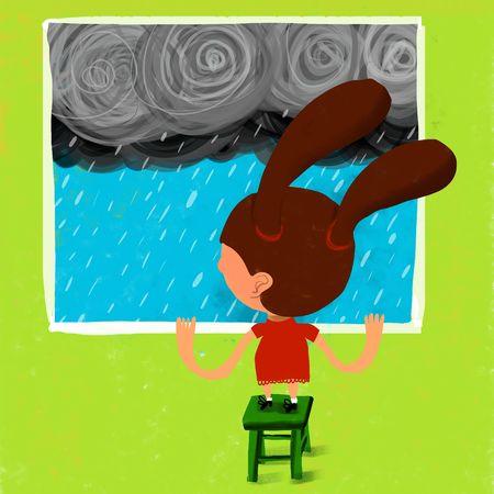 rain window: Girl of backs watches to rain from the window Stock Photo
