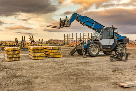 Forklift on a construction site Stockfoto