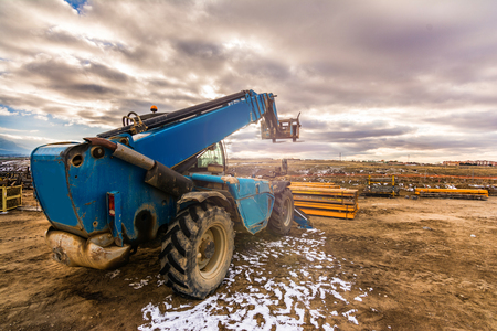 Forklift on a construction site Stock Photo