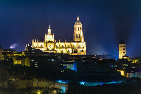Cathedral of Segovia (Spain). Late Gothic style called Lady of the Cathedrals. Front night view Stock Photo