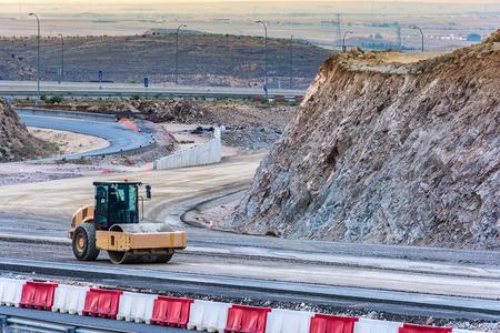 Steamroller doing road construction work