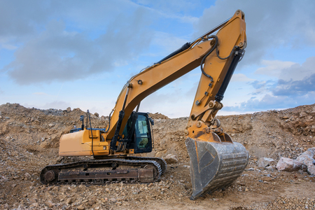 A large excavator working on a building site
