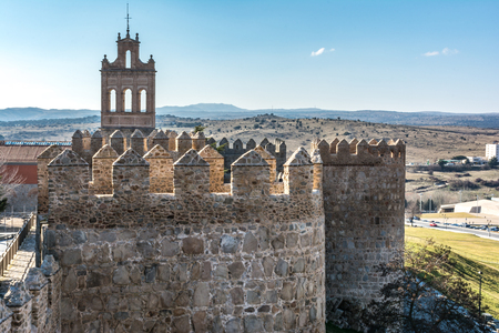 Avila (Castile and Leon, Spain): the famous medieval walls that surround the city. Stock Photo