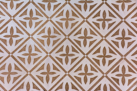 Traditional decorative pattern of the facades of the houses in the historic Jewish quarter of Segovia. Also called sgraffito (Spain) Stock Photo