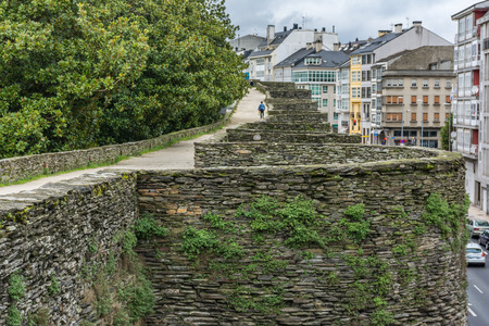 The Roman wall of Lugo surrounds the historic center of the Galician city of Lugo in the province of the same name in Spain