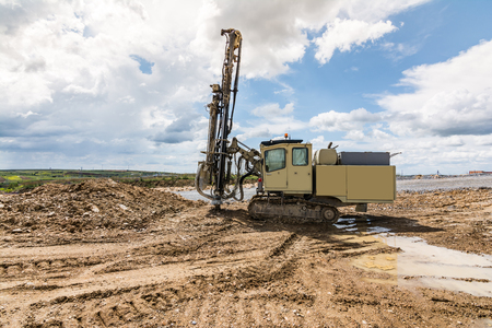 Drilling machine working on a construction site