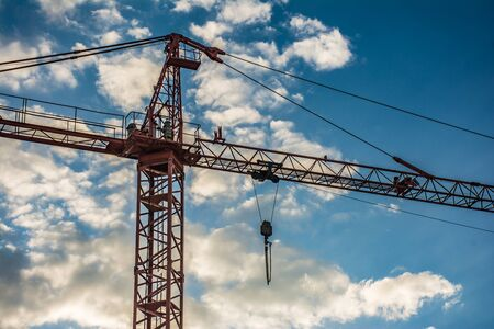 Isolated crane with a background of clouds