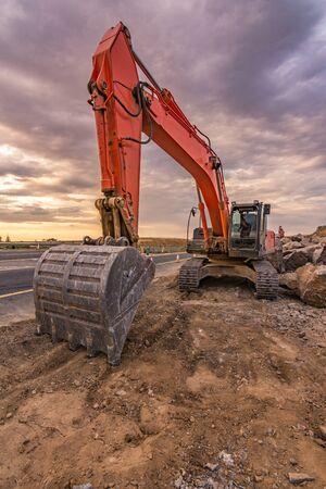 Excavator building road in Spain