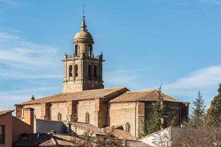 Village of Medinaceli and view of the collegiate church in Soria, Spain.