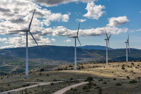 The Grado de Pico wind farm located in the municipality of Ayllón (Segovia) located in the provinces of Soria, Segovia and Guadalajara (Spain)