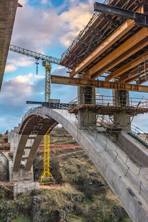 Construction of the structure of a bridge for a motorway in Spain on the ring road of Segovia