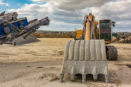 Varied machinery in an open pit mine