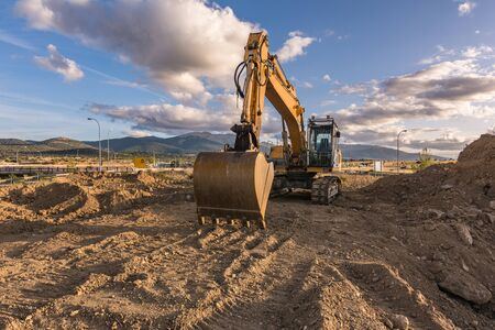Movement of earth and rock in a construction site 写真素材