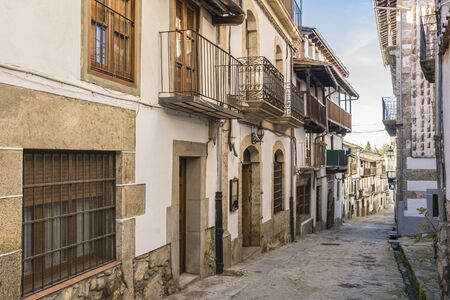 Streets and architectural facades of Candelario (Salamanca, Spain) Stock Photo
