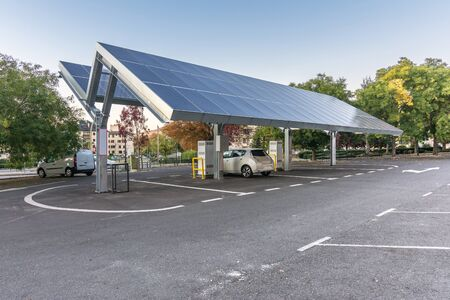 Car charging station for self-sufficient and first photovoltaic panels in Europe. It is also free. Located in La Granja de San Ildefonso (Segovia)
