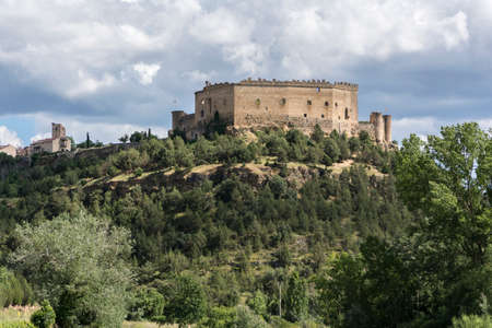View of the medieval town of Pedraza and its castle in the province of Segovia (Spain) Editorial