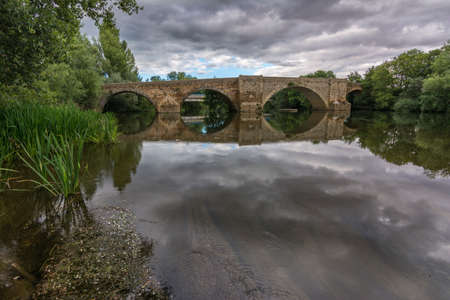 The bridge of la vizana is of Roman origin and is the limit between the provinces of Zamora and León (Spain)