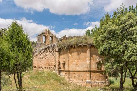 Gorge of the Riaza river and the hidden and ruined hermitage of Casuar in Montejo de la Vega (Segovia, Spain) Stock Photo