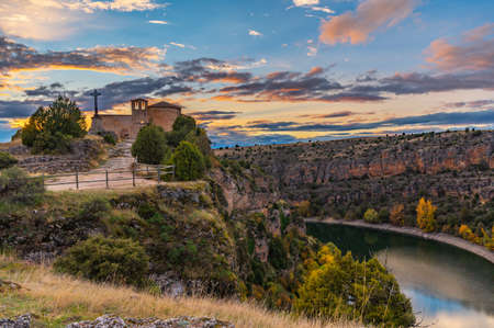 The hermitage of San Frutos in the Hoces del Duraton in the province of Segovia in Spain