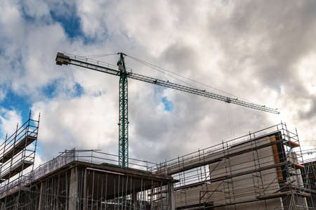 Large cranes in a building construction site
