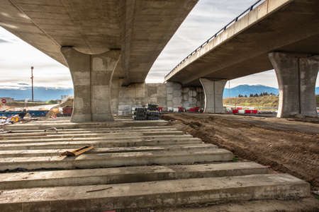 Construction of a bridge in the expansion works of the ring road in Segovia (Spain)
