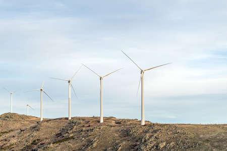 Windmills in the province of Avila in the Alto del Voltoya (Spain) Imagens