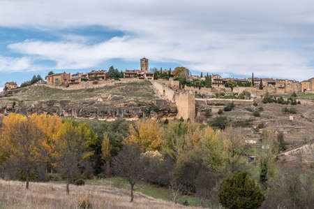 View of the medieval town of Pedraza and its castle in the province of Segovia (Spain) Sajtókép