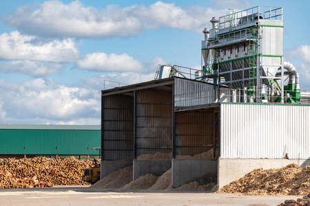Exterior facade of a pellet mill. Sustainable and ecological industry