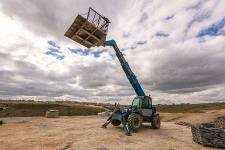 Forklift machine on an outdoor construction site