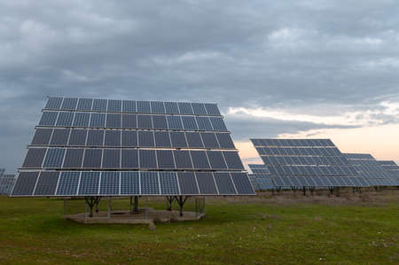 Photovoltaic panel station in the interior of Spain Stock fotó