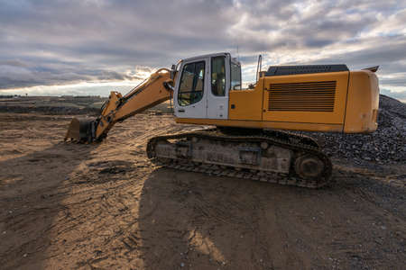 A large excavator at a construction site