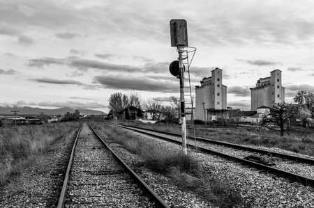 Old abandoned railway station of train in Campo de San Pedro line Madrid - Burgos (Spain)