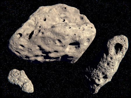 The asteroids Lutetia, Gasprah, Ida Archivio Fotografico