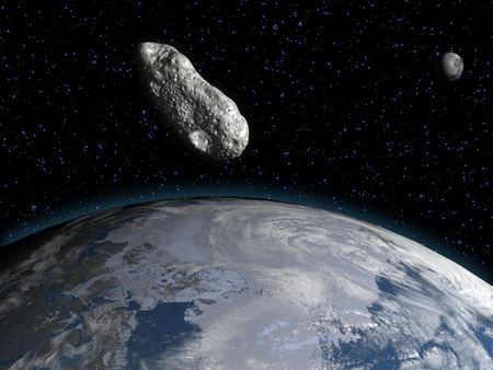 Asteroid approaching the earth