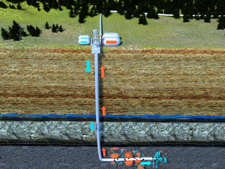 Fracking hydraulic facturing Foto de archivo