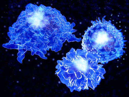 Immune system cells: macrophages (left) segregate multiple cytokines, that activate other immune cells. Antigen presenting cells (bottom) activate T-cells and the adaptive immune response.