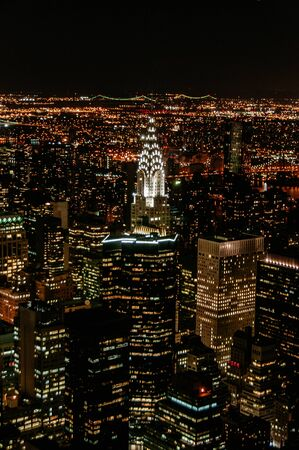 manhattan aerial night view in the nigh from the empire state